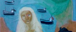 'Mistress of the Fishermen', oil on canvas, signed, 25 x 30 cm.
